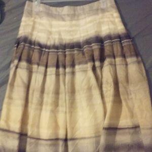 Theory sz 2 Pleated Silk Nuetral Stripe Skirt NWOT